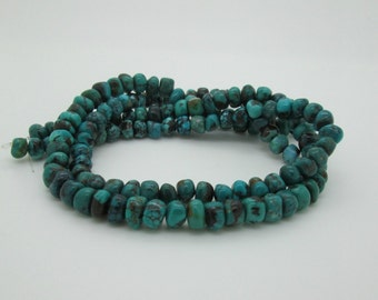Blue Hubei Turquoise Rough Rondelle Beads, 8x6mm (4 inches, 18 beads)