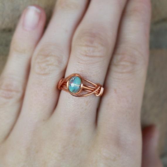 blauen opal ring boho ring boho schmuck blau von minkykitten. Black Bedroom Furniture Sets. Home Design Ideas