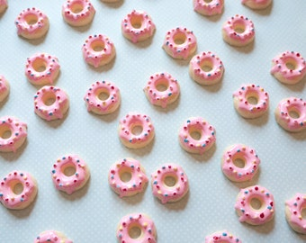 Pink Frosted Donut Cabochon 5pcs - Sprinkle Doughnut Cabochons