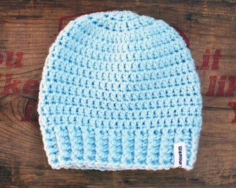 Baby Blue Crochet Slouch Baby Beanie Any Size 0-8 Years Fitted or Slouchy style