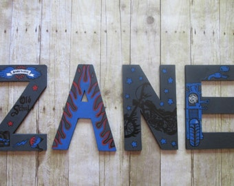 Motorcycle Theme Hand-Painted Acrylic Wooden Nursery Name Letters. Gift for baby or kids gift, baby nursery decor, kids room art, 11 inches