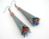 Unique Handmade Copper Earrings-Copper Blue Patina Bouquets Earrings-Long Dangle Earrings-Contemporary Boho Earrings