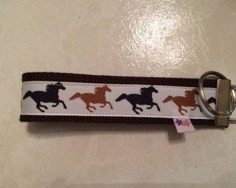 Horses on dark brown  wrist key chain key fob