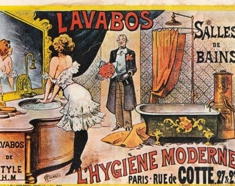Vintage French advertising trade card from . Hygiène Moderne  Paris . Ace Building Supply.