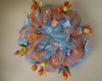 Tulips and Daisies Deco Mesh Wreath
