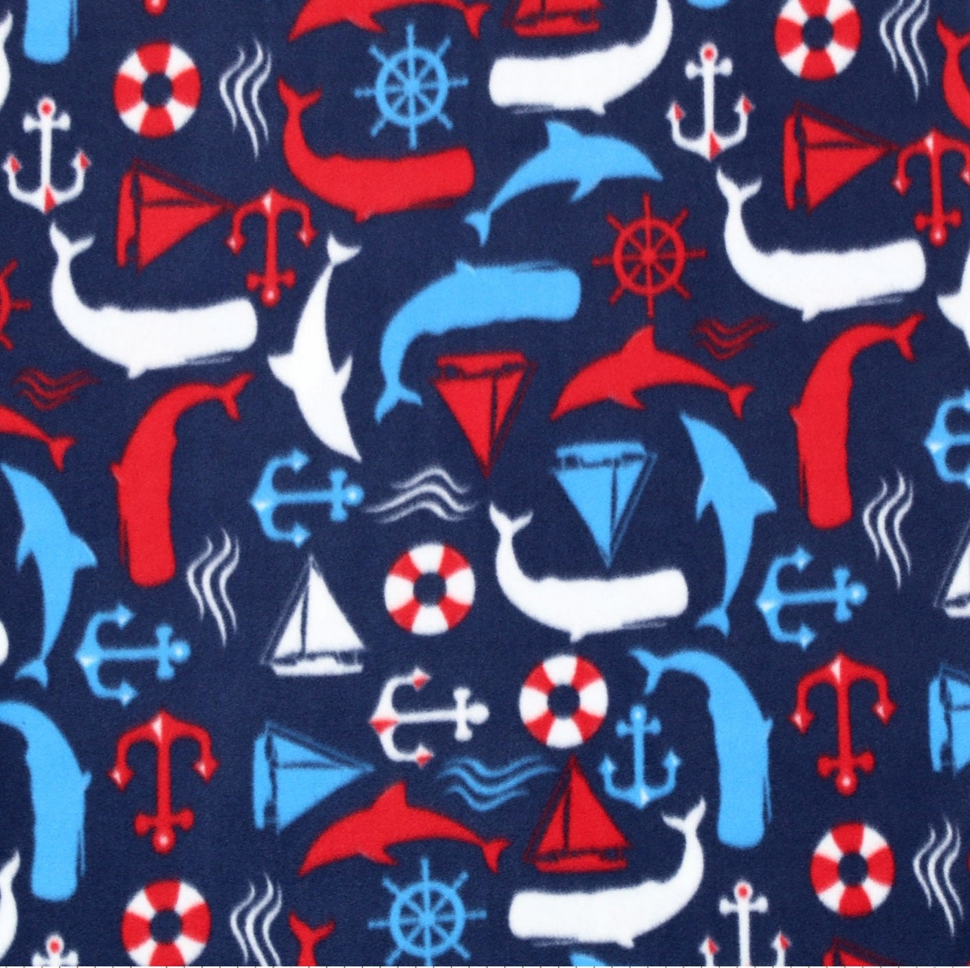 Nautical fish fleece fabric sold by the yard for Fish fabric by the yard
