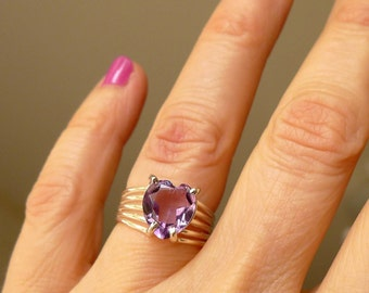 Amethyst Heart Ring, Genuine Faceted Amethyst Violet Lilac Purple, Sterling Silver Ring, Size 5 1/2
