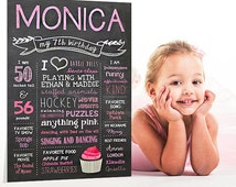 Blush pink 5th birthday chalkboard sign - Girls photo prop Ballerina Chalkboard poster - Custom color and any age - DIGITAL file!