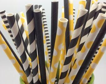 Set of 50 Bumblebee Black and Yellow Theme Paper Straws - PartyDIY, Mason Jar, Baby/Bridal Shower, Stripes, Polka Dots