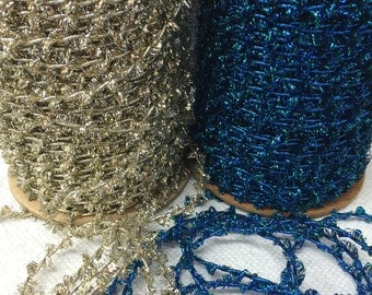 144 Yards of Vintage Tinsel Twine String Blue and Gold,Cord Sparkly, Glitter Strings.