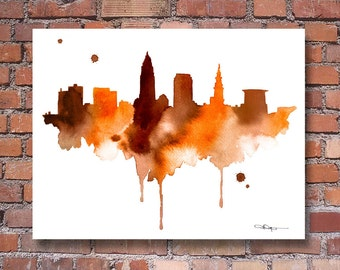 Cleveland Skyline - Abstract Watercolor - Ohio Art Print - Wall Decor