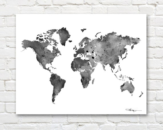 World map black and white watercolor map wall decor for Black and white world map wall mural