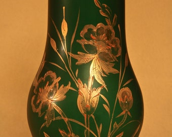 Hand Painted Green & Gold Glass Vase