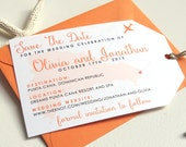 Printable Luggage Tag Save The Dates for Destination Wedding (Beach, Resort, Travel)