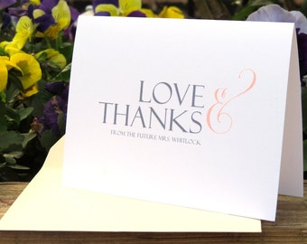 Customizable Bridal Shower, Newlywed, Wedding Thank You Card Set
