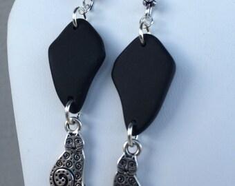 Cat Seaglass Earrings
