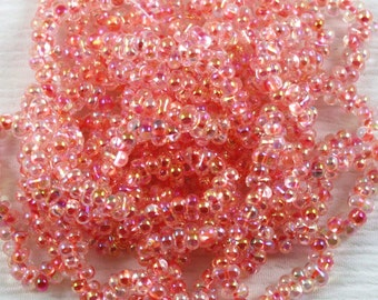 25 grams 2x4mm Crystal AB / Coral Lined Farfalle Japanese Glass Beads, peanut beads, berry beads, Matsuno beads