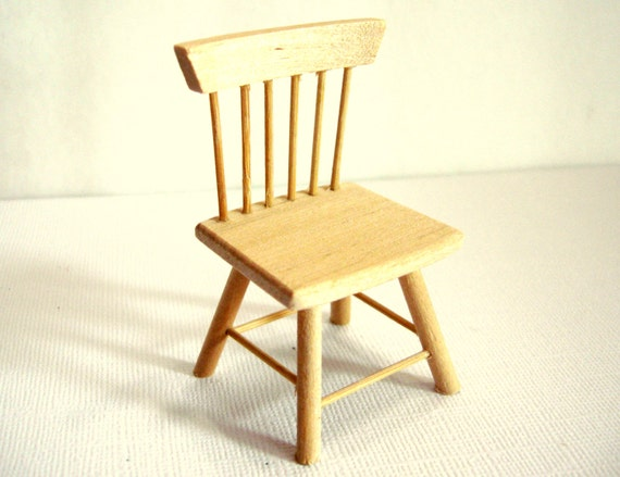 Dollhouse Kitchen Chair Set of 1 Unfinished Pine Wood