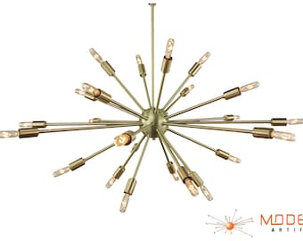 Mid Century Modern Sputnik Atomic Lamp Brushed Brass Starburst Chandelier