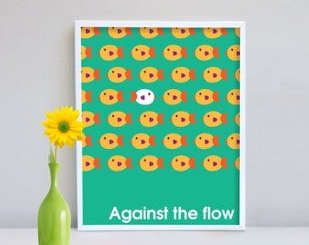 Wall decor, Wall Print, Home Decor, Poster, Children Decor, Against the flow