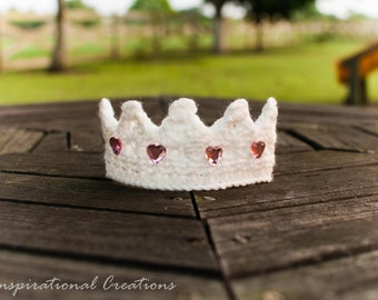 Soft White Crochet Baby Crown, Newborn Photo Prop, Baby Crown for Girl, Newborn Crown, Newborn Tiara