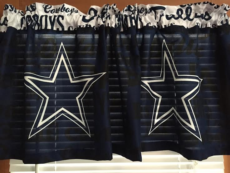 Dallas Cowboys Curtain Valance Large Stars 62 Wide