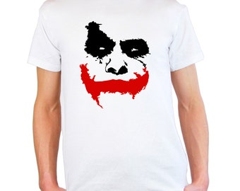 "Mens & Womens T-Shirt with Scary Joker Face ""Why So Serious?"" / Movie Batman: The Dark Knight  Shirts / Jocker Shirt + Free Decal Gift"