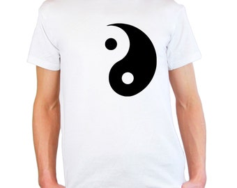 Mens & Womens T-Shirt with Yin and Yang Symbol Design / Ethical Symbol Shirts / Taoism Daoism TShirt /Philosophy Yoga + Free Decal Gift