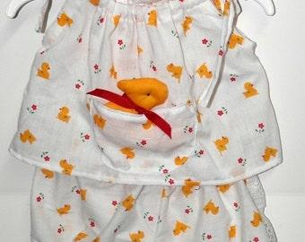 Handmade White/Yellow Duckie Toddler 2T Pillowcase dress, Panties & Hairbow w/Stuffed Duckie