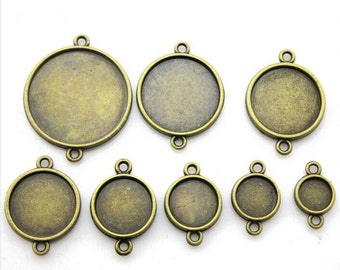18mm Round Pendant Tray, Bezel Setting, 18mm  Cabochon Tray - Antique Bronze,Antique Silver,Double Same Side,Two Loops