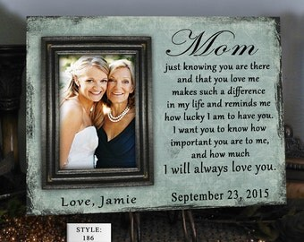 """LUCKY/MOM, 10x12"""", Holds One 5x7"""" Photo, Gift for Parents, Mom and Dad, Wedding Frames, Gift for Mom, Gift for Dad, Father Gift, Mother Gift"""