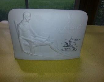 Vintage White Matte Ceramic LLADRO Collectors Society Standing Plaque