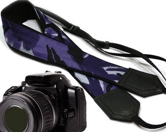Camouflage Camera Strap. Military theme. Blue DSLR / SLR Camera Strap. Gift ideas by InTePro