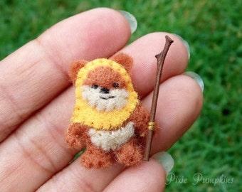 Miniature Felt Ewok, Ewok Miniature Plush, Tiny Felt Ewok, Felted Miniature Ewok, Handmade Ewok Orange Hood, Tiny Ewok, Star Wars Plush Toy