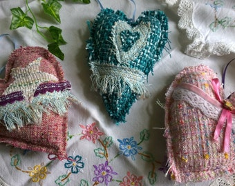 Tweed shabby chic tattered hanging hearts~ 3 different available