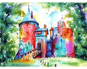 Small Mounted Print: castle coch