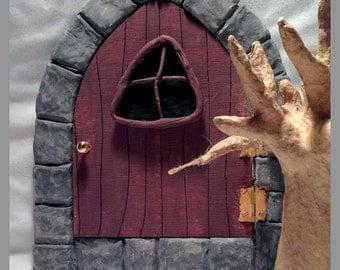 Fairy door, Gothic look door,  Opening Fairy door, Elfin doorway, Garden gnome door, Pixie door