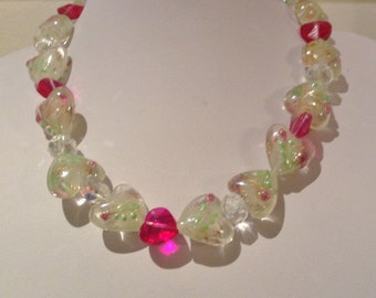Necklace.43cm Features Large High Quality Lampwork Glass hearts Clear with Multi Green leaf patterns and small pink flowers