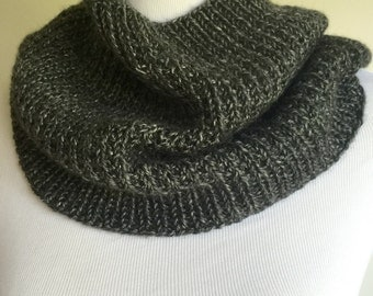 Hand knit cowl, gray hand knit cowl, hand knit gray cowl, hand knit gray infinity scarf, gray knit snood, hand knit gift, ready to ship.