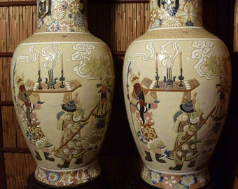 Set of 2 Large Vintage Vietnamese Ceramic Vases 25 inches Tall