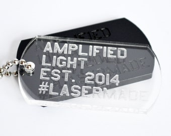 Custom personalized engraved U.S. military dog tag necklace on clear and black acrylic