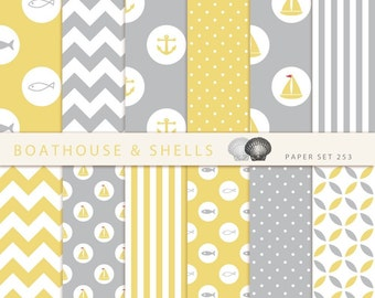 SAIL YELLOW & GREY Scrapbooking digital paper pack - 12 digital papers with fish/anchor/boat print - instant download - printable - 253