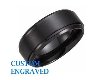 Black Titanium 9mm Band - Engraved Ring - Titanium Black Ring - Personalized Titanium Ring - Custom Engraved Titanium Ring - Black Band