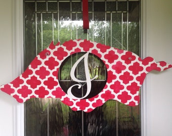 Hog door hanger, front porch decor, red and white