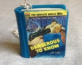 Dangerous To Know pulp fiction polymer clay book charm necklace