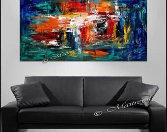 Art mural bleu abstrait peinture sur toile art abstrait uvre for Oeuvre minimaliste