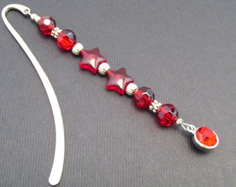 Beaded bookmarker, red beaded bookmarker, rhinestone charm, 4-1/4 in, beaded bookmark, gift for avid reader, book accessory