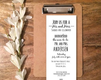Personalized Digital File: His and Hers Wedding Shower Invitation