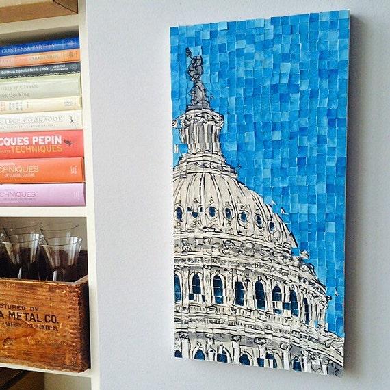 "Washington DC- US Capitol - Architectural Art: 10""x20"" Original Painting"
