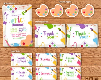 Personalized Art Party party kit (includes Invitation,cupcake toppers,thank you notes + personalized food labels)